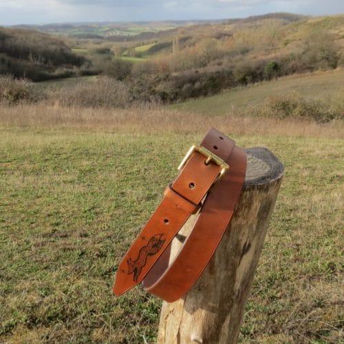 ceinture cuir tatoué motif renard